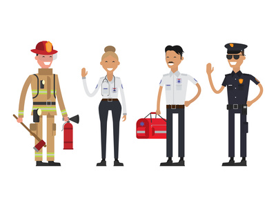 Firefighter, policeman and paramedic