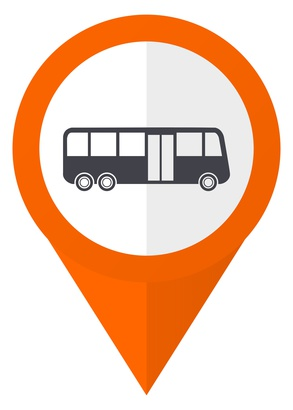 Bus orange pointer vector icon in eps 10 isolated on white background.